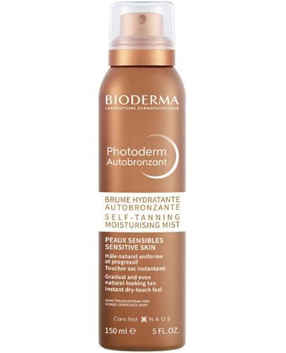 Bioderma Photoderm Autobronzant nawilżający samoopalacz w sprayu 150 ml + Bioderma Sensibio H2O chusteczki do demakijażu dla skóry wrażliwej 25 sztuk [GRATIS]