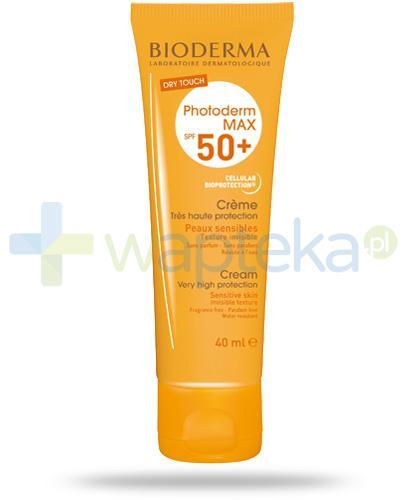 Bioderma Photoderm Max SPF50+ ochronny krem do skóry suchej i normalnej 40 ml + Bioderma Sensibio H2O chusteczki do demakijażu dla skóry wrażliwej 25 sztuk [GRATIS]