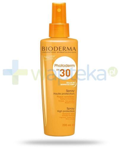 Bioderma Photoderm SPF30 spray przeciwsłoneczny 200 ml + Bioderma Sensibio H2O chusteczki do demakijażu dla skóry wrażliwej 25 sztuk [GRATIS]