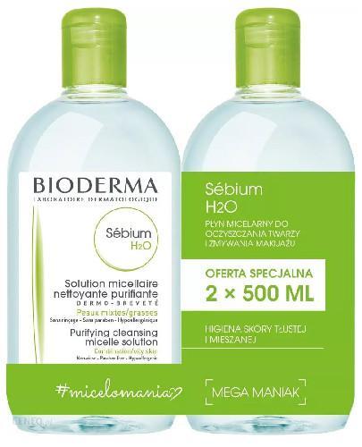 Bioderma Sebium H2O antybakteryjny płyn micelarny 2x 500 ml [DWUPAK]