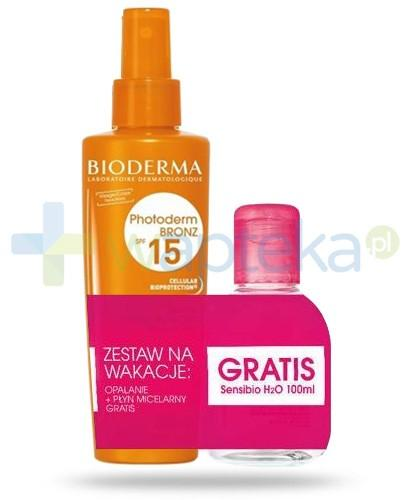 Bioderma ZESTAW Photoderm Bronz SPF15+ spray przyspieszający opalanie 200 ml + Bioderma Sensibio H2O płyn micelarny 100 ml - Krótka data ważności 28-02-2017