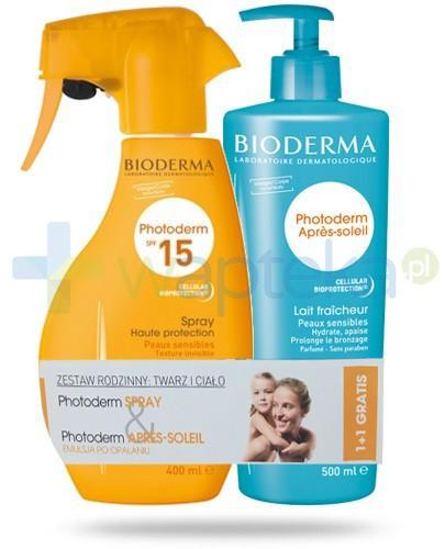 Bioderma ZESTAW Photoderm spray ochronny SPF15 UVA10 400 ml + Bioderma Photoderm Apres-Soleil emulsja łagodząco nawilżająca 500 ml