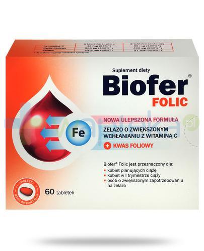 Biofer Folic żelazo z witaminą C + kwas foliowy 60 tabletek