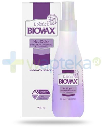 Biovax NutriQuick dwufazowa odżywka bez spłukiwania do włosów ciemnych 200 ml