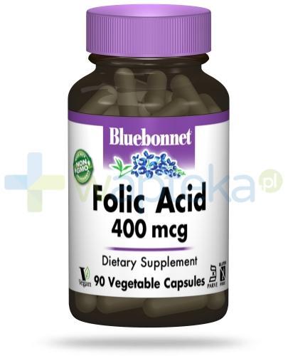 Bluebonnet Nutrition Kwas foliowy 400 mcg, 90 wegańskich kapsułek