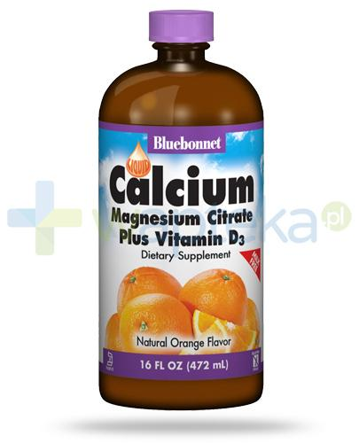 Bluebonnet Liquid Calcium Magnesium Citrate Plus Vitamin D3 smak pomarańczowy 472 ml USA