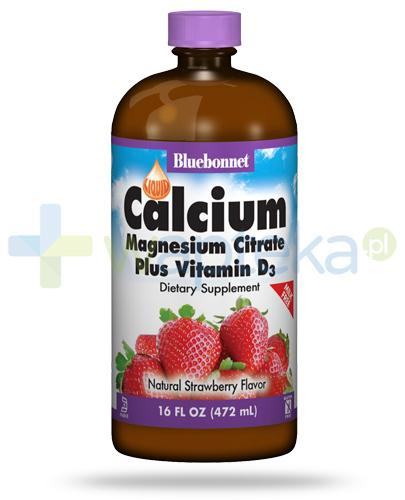 Bluebonnet Liquid Calcium Magnesium Citrate Plus Vitamin D3 smak truskawkowy 472 ml USA