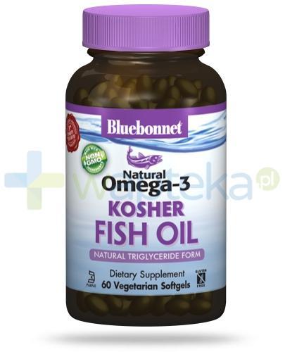 Bluebonnet Nutrition Natural Omega-3 KOSHER Fish Oil, naturalne źródło EPA,DHA,DPA, 60 wegetariańskich kapsułek