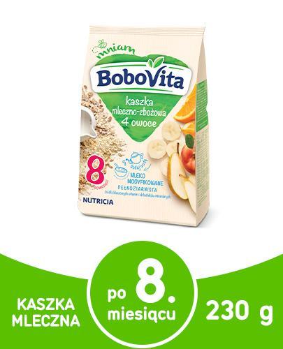 BoboVita kaszka mleczno-zbożowa 4 owoce po 8 miesiącu 230 g
