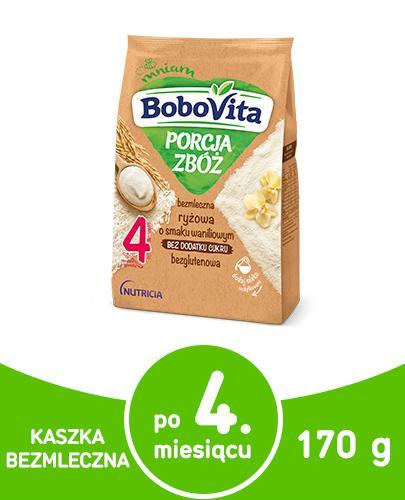 BoboVita Porcja zbóż bezmleczna kaszka ryżowa o smaku waniliowym dla dzieci 4m+ 170 g