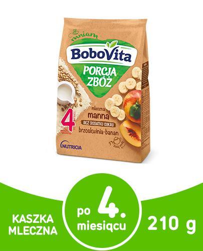 BoboVita Porcja zbóż mleczna kaszka manna o smaku brzoskwini i banana dla dzieci 4m+ 210 g