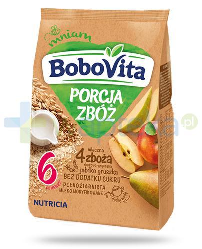 BoboVita Porcja zbóż mleczna kaszka zbożowo-gryczana 4 zboża o smaku jabłka i gruszki dla dzieci 6m+ 210 g