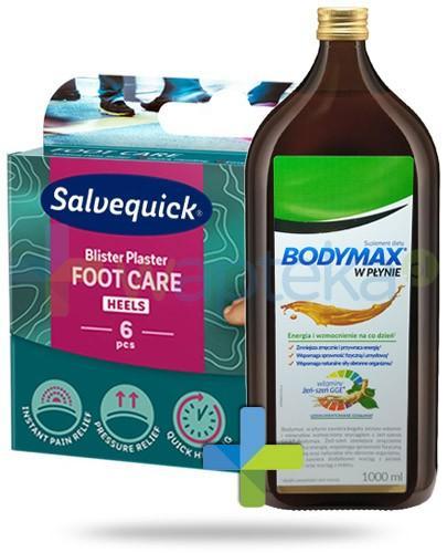 Bodymax wyciąg z żeń-szenia GGE + witaminy w płynie 1000 ml + Salvequick Foot Care Medium plasrty na pęcherze i otarcia 6 sztuk
