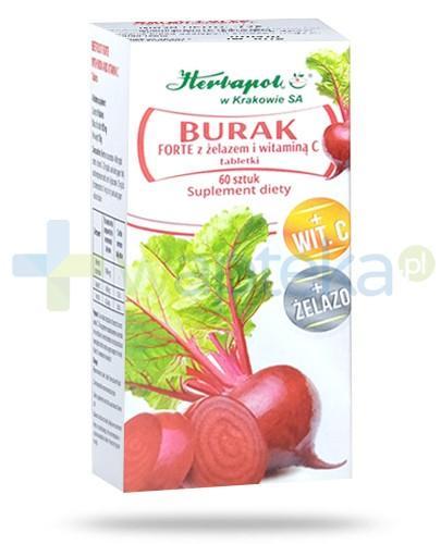 Burak Forte z żelazem i witaminą C 60 tabletek