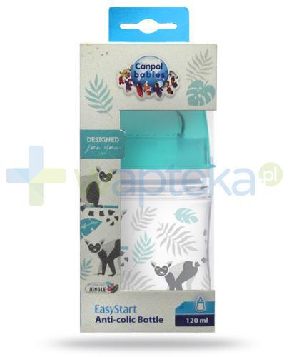 Canpol Babies EasyStart Jungle butelka szerokootworowa antykolkowa dla dzieci 0m+ 120 ml [35/226_blu]