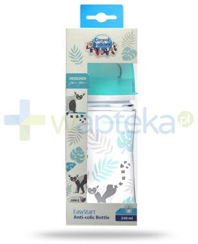 Canpol Babies EasyStart Jungle butelka szerokootworowa antykolkowa dla dzieci 3m+ 240 ml [35/227_blu]