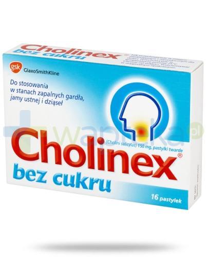 Cholinex Sugarfree pastylki do ssania na ból gardła - 16 sztuk