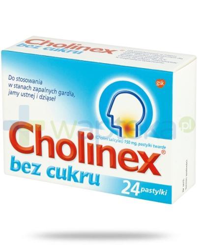 Cholinex Sugarfree pastylki do ssania na ból gardła - 24 sztuki