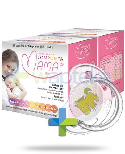 Composita Mama DHA 30 kapsułek + 60 kapsułek DHA 30 dni [DWUPAK] + Canpol Transparent smoczek 1 sztuka [278/474]