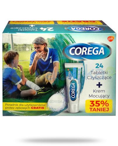 Corega Tabs Bio Formula tabletki do czyszczenia protez zębowych 24 sztuki + Corega Super Mocny krem do protez zębowych delikatnie miętowy 40 g [ZESTAW]