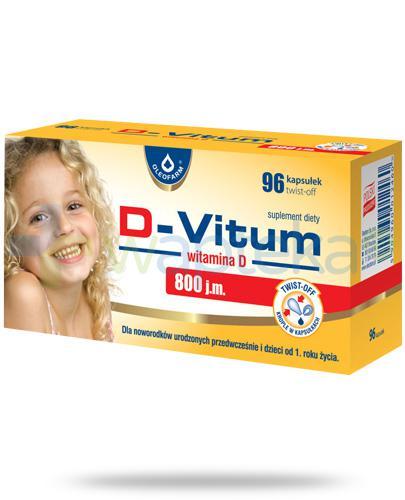 D-Vitum 800j.m. witamina D dla dzieci od 1 roku życia i wcześniaków 96 kapsułek twist-off