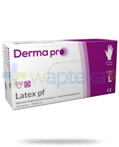 DermaPro Latex rękawice diagnostyczne lateksowe niejałowe bezpudrowe rozmiar L 100 sztuk