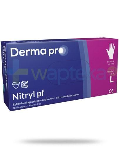 DermaPro Nitryl PF rękawice diagnostyczne nitrylowe bezpudrowe rozmiar L 100 sztuk