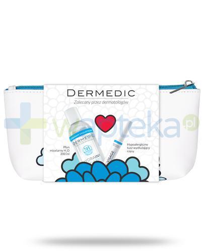 Dermedic Hydrain 3 Hialuro płyn micelarny H2O 200 ml + Neovisage hypoalergiczny tusz wydłużający rzęsy 8 g + kosmetyczka [ZESTAW]