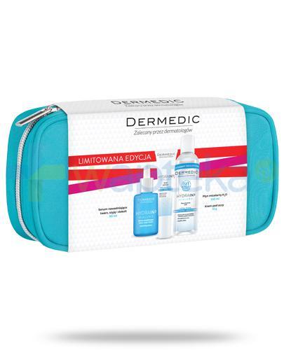 Dermedic Hydrain3 Hialuro serum nawadniające twarz, szyję i dekolt 30 ml + krem pod oczy 15 g + płyn micelarny 100 ml + niebieska kosmetyczka [ZESTAW]