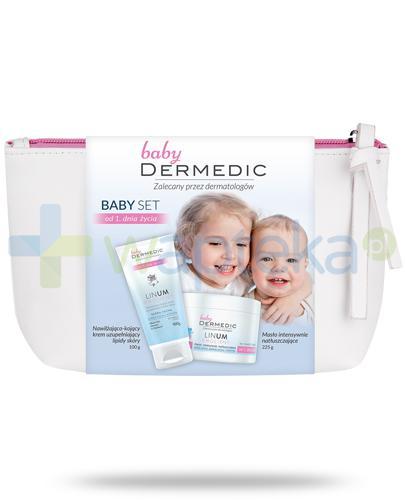 Dermedic Linum Emolient Baby Set, nawilżająco-kojący krem uzupełniający lipidy skóry 100 g + masło intensywnie natłuszczające do twarzy i ciała 225 g + kosmetyczka [ZESTAW]