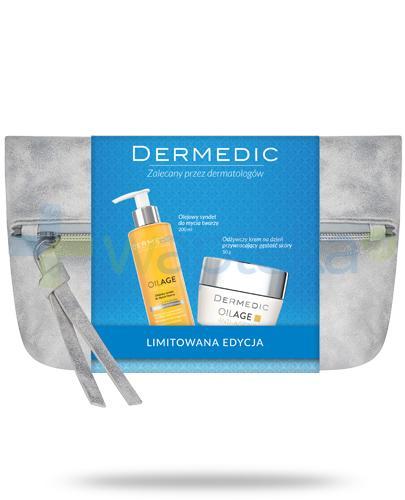 Dermedic Oilage Anti-Ageing odżywczy krem na dzień przywracający gęstość skóry 50 g + Olejowy syndet do mycia twarzy 200 ml + kosmetyczka [ZESTAW]