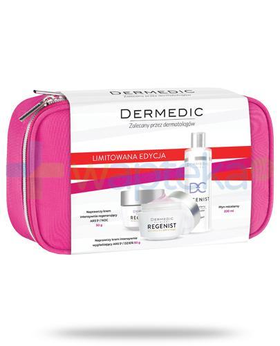 Dermedic Regenist Regenist naprawczy krem intensywnie wygładzający na dzień 50 g + naprawczy krem intensywnie regenerujący na noc 50 g + płyn micelarny 200 ml + różowa kosmetyczka [ZESTAW]