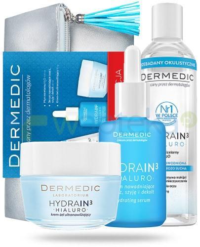 Dermedic ZESTAW Hydrain 3 Hialuro płyn micelarny H2O skóra sucha 100 ml + Hydrain 3 Hialuro serum nawadniające 30 ml + Hydrain 3 Hialuro krem żel ultranawilżający 50 g + duża kosmetyczka