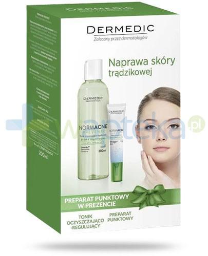 Dermedic ZESTAW Normacne Preventi tonik oczyszczająco regulujący 200 ml + Dermedic Normacne Therapy preparat punktowy 15 g