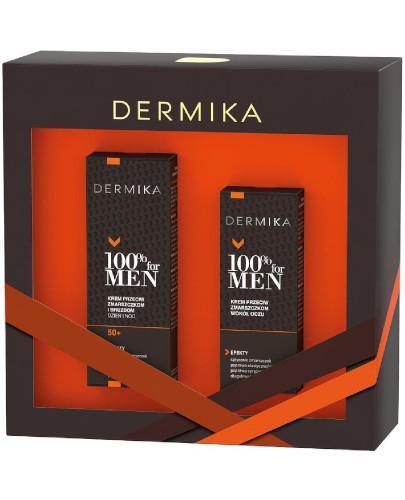 Dermika 100% For Men 50+ zestaw krem przeciw zmarszczkom i bruzdom na dzień i na noc 50 ml + krem przeciw zmarszczkom wokół oczu 15 ml [ZESTAW]
