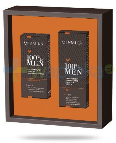 Dermika 100% For Men ZESTAW krem 50+ przeciw zmarszczkom i bruzdom na dzień i na noc 50 ml + balsam po goleniu przywracający komfort 40 ml