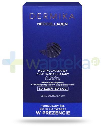 Dermika Neocollagen multikolagenowy krem wzmacniający do redukcji zmarszczek na dzień i na noc 50+ 50 ml + Dermika Hydroclean tonizujacy żel do mycia twarzy z kwiatem lotosu 150 ml [ZESTAW]