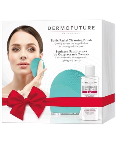 Dermo Future szczoteczka soniczna do oczyszczania twarzy, kolor zielony 1 sztuka + żel micelarny do mycia 3w1 150 ml [ZESTAW]