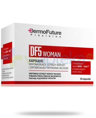 Dermo Future DF5 Woman kapsułki wspomagające szybszy wzrost i zapobiegające wypadaniu włosów 30 sztuk - Data ważności 30-09-2017
