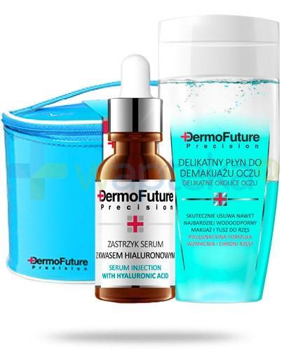 Dermo Future ZESTAW zastrzyk serum z kwasem hialuronowym 20 ml + delikatny płyn do demakijażu oczu 150 ml + kosmetyczka