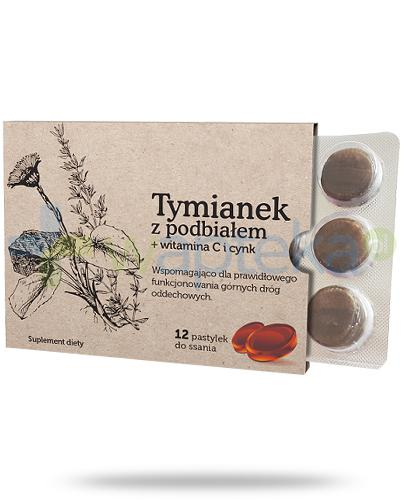 Tymianek z podbiałem + witamina C + cynk 12 pastylek