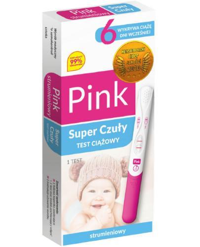Domowe Laboratorium Pink Strumieniowy Super Czuły test ciążowy strumieniowy 1 sztuka