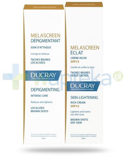 Ducray Melascreen Eclat lekki krem rozjaśniający skórę SPF15, 40 ml + intensywna depigmentacja 30 ml [ZESTAW]