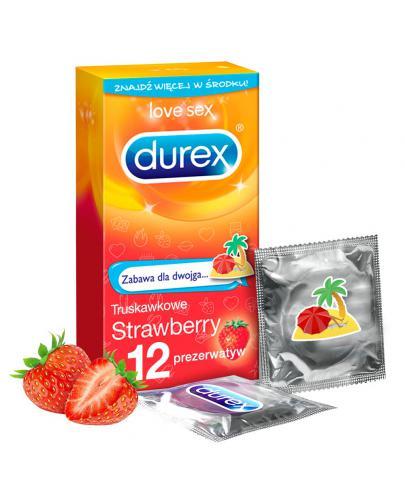 Durex Strawberry prezerwatywy 12 sztuk [KUP 2 dwa dowolne produkty DUREX = breloczek GRATIS]