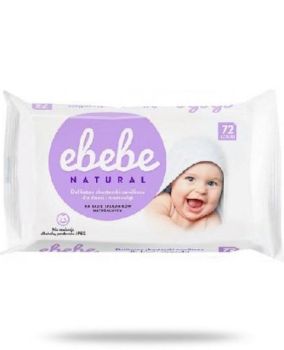 eBebe Natural delikatne chusteczki nawilżane dla dzieci i niemowląt 72 sztuki