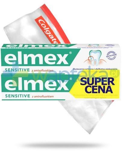 Elmex Sensitive z aminofluorkiem pasta do zębów 2x 75 ml + kosmetyczka strunowa GRATIS!