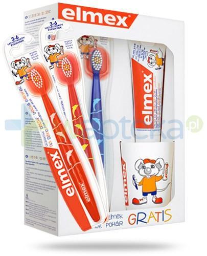 Elmex ZESTAW pasta z aminofluorkiem dla dzieci 0-6 lat 50 ml + szczoteczka do zębów dla dzieci 3-6 lat + kubek