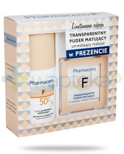 Pharmaceris F fluid ochronno korygujący SPF50+ najwyższa ochrona IVORY 01 30 ml + Pharmaceris F transparentny puder matujący 6 g