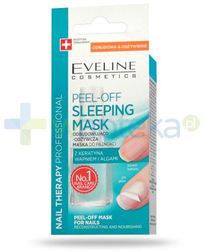 Eveline Nail Therapy Peel-off Sleeping mask odbudowująco-odżywcza maska z keratyną i wapniem do paznokci 12 ml