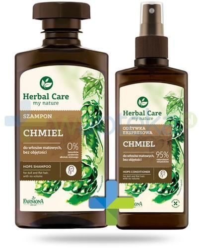 Farmona Herbal Care Chmiel szampon do włosów matowych pozbawionych objętości 330 ml + odżywka ekspresowa do włosów matowych bez objętości 200 ml [ZESTAW]